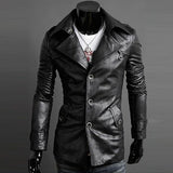 Slim Fit Men's Fashion Faux Leather Coat
