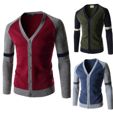 Two Toned Color Contrast Button Men's Cardigan