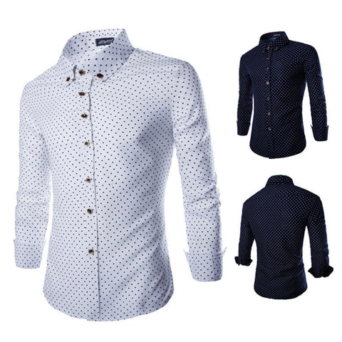 Men's Slim Fit Dotted Fashion Dress Shirt