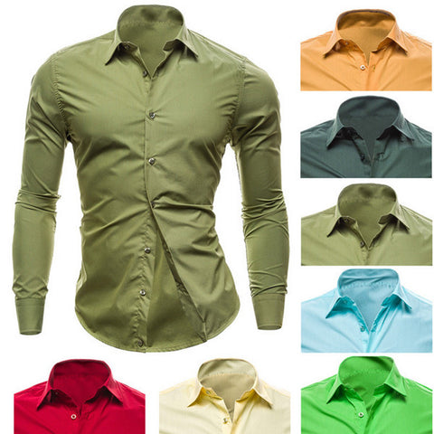 Slim Fit Men's Color Dress Shirt