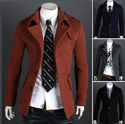 Fashion Men Slim Wool Coat SOS
