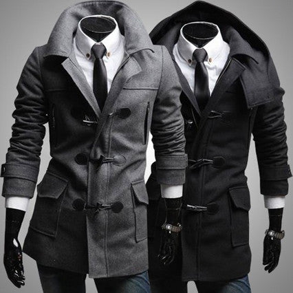 Slim Fit Fashion Men Toggle Wool Coat with Removable Hood
