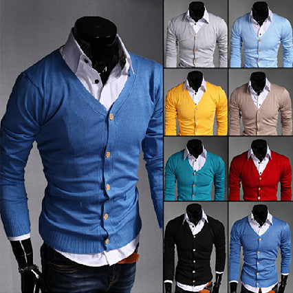 Solid Color Men Fashion Knit Cardigan
