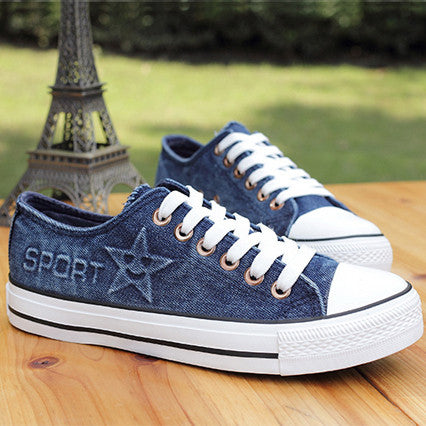 Faded Denim Canvas Sneakers