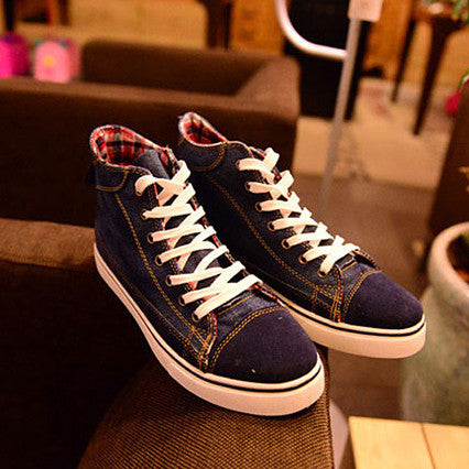 Blue Denim High Cut Sneakers