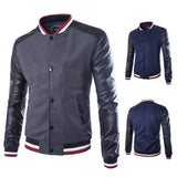 Leather Sleeve with Wool Blended Bomber Jacket