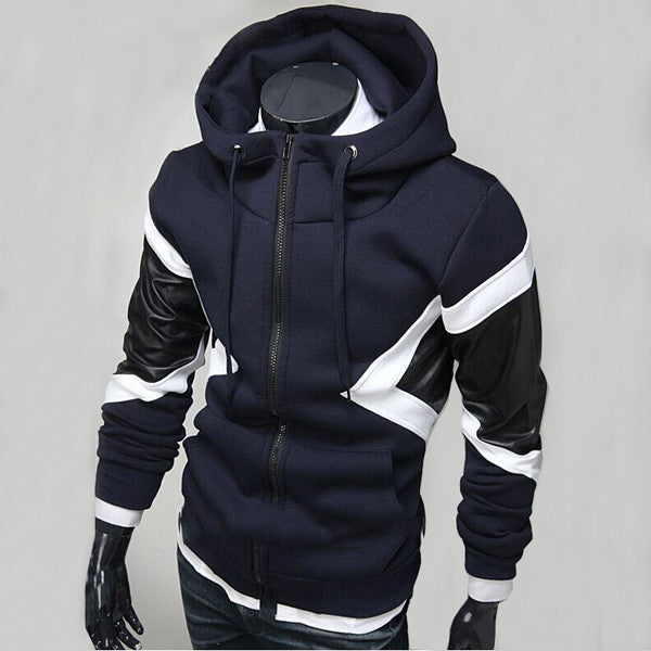 Slim Fit Zip Up Hoodie With Leather Design