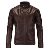 Men's Faux Leather Jacket with Neck Button
