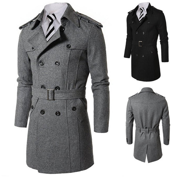 Double Breasted Long Wool Coat with Belt