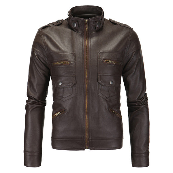 Faux Leather Slim Fit Zip Up Jacket