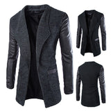 Leather Sleeve Men's Cardigan Jacket