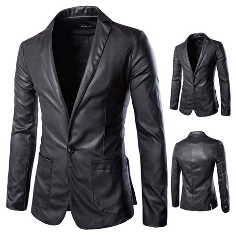 Black One Button Leather Jacket