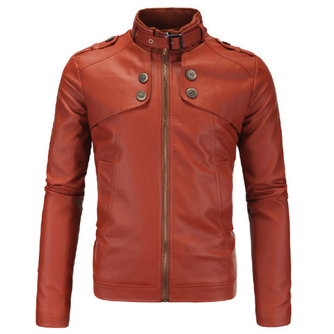 Classic Men's Faux Leather Jacket with Neck Buckle