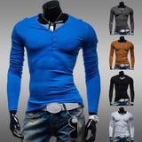 New Slim Fit Men's Solid Color Henley Tee
