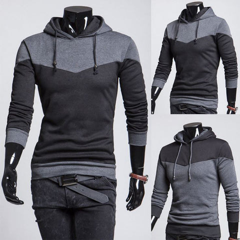 New Gray and Black Men's Pullover Hoodie