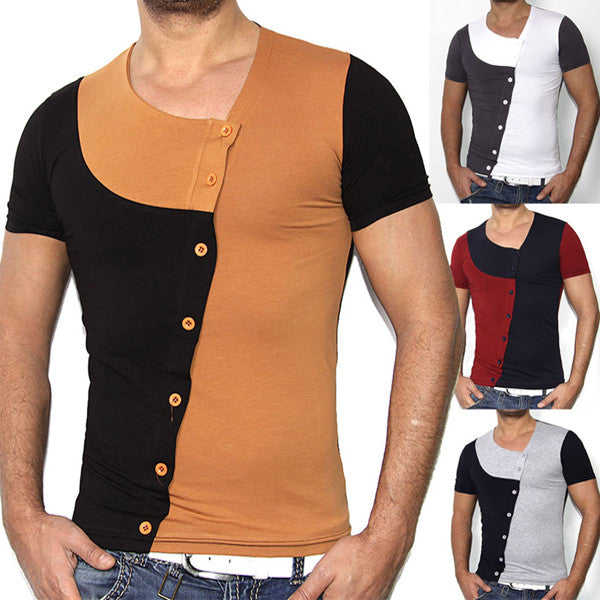 Slim Fit Color Contrast Asymmetric Buttons Tee