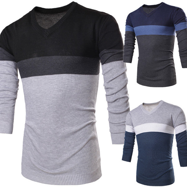 Color Blocked V Neck Men