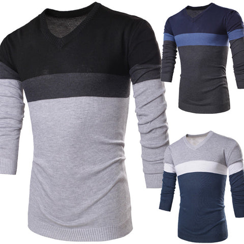 Color Blocked V Neck Men's Knit Sweater
