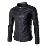 Slim Fit Zip Up Faux Leather Jacket with Neck Button