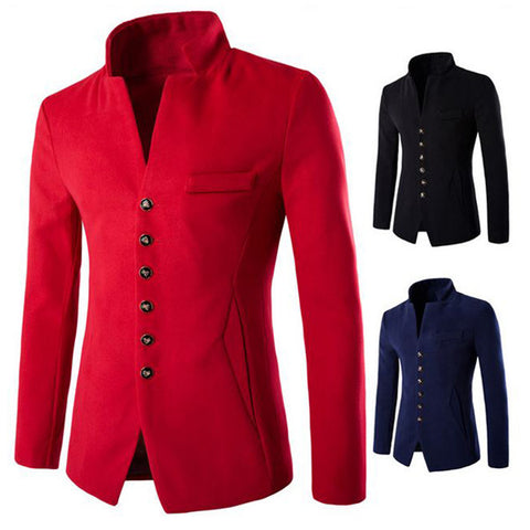 Buttons Wool Men's Fashion Blazer