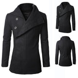 Button Up Funnel Neck Men's Black Wool Coat