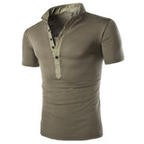 New Henley Style Men's Fashion T-Shirt