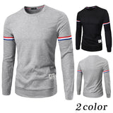 French Stripe Men's Fashion Long Sleeve Tee