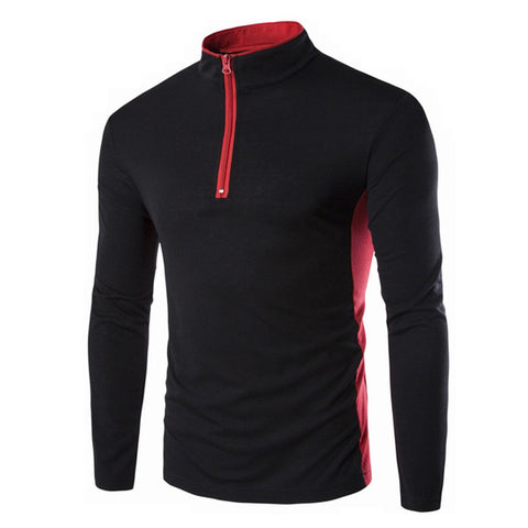 Funnel Neck Zip Up Men's Fashion Tee