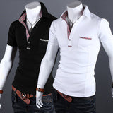 Checkered Trim Design Slim Fit Polo Tee