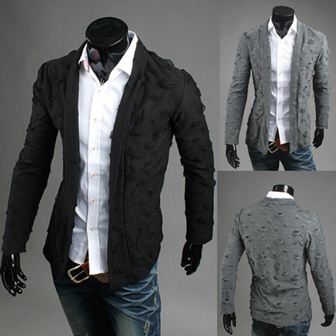New Ripped Design Men's Fashion Cardigan
