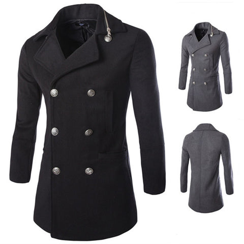 Men's Double Breasted Zip Collar Design Wool Coat