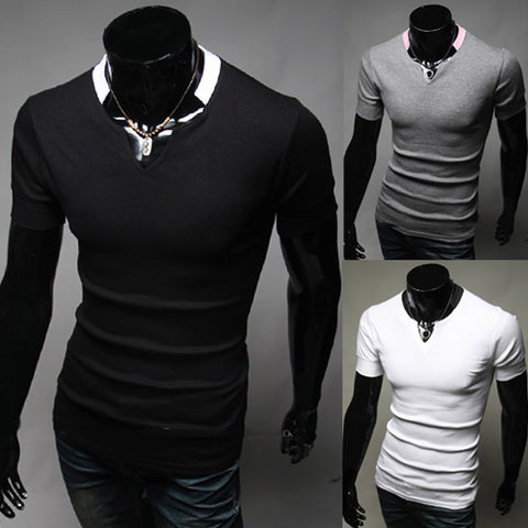 New Color Contrast Collar Design Slim Fit Tee