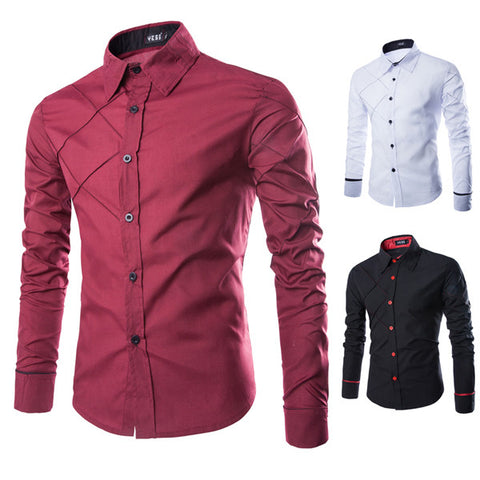 Criss Cross Design Slim Dress Shirt