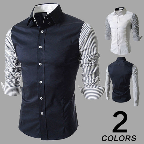 Striped Sleeve Slim Fit Shirt
