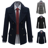 Double Breasted Slim Fit Men's Wool Coat