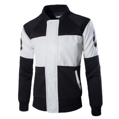 Black and White Color Block Varsity Jacket
