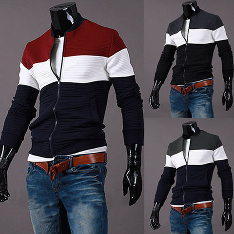 Color Blocked Men's Zip Varsity Jacket