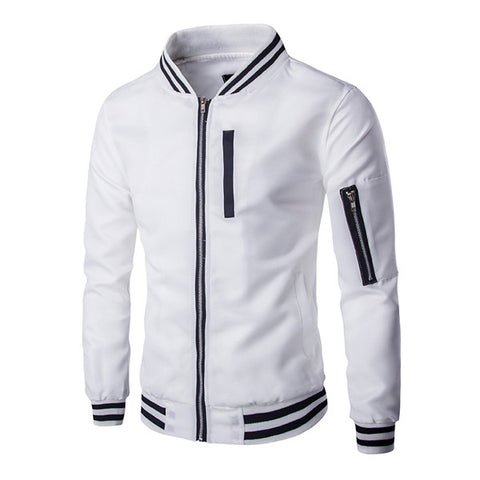 Black and White Bomber Zip Jacket