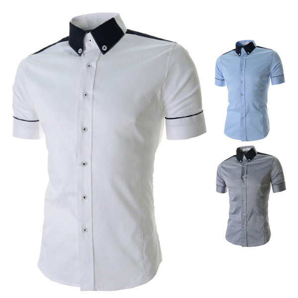 Color Contrast Collar Short Sleeve Shirt
