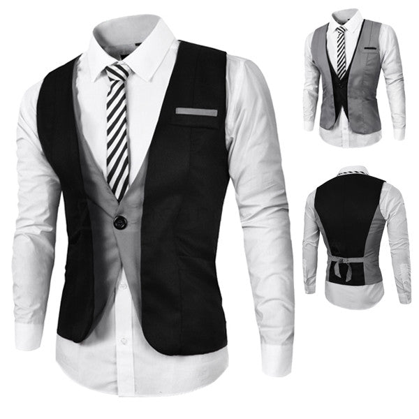 Two Layered Design One Button Men
