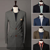 Men's Slim Fit Long Blazer Coat