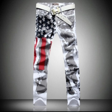 American Flag Painted Designer White Jeans