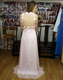 backless chiffon prom dress
