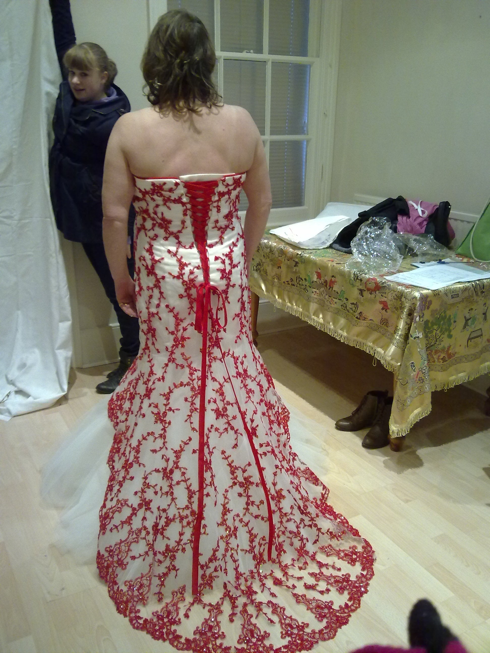 wine red lace wedding dress