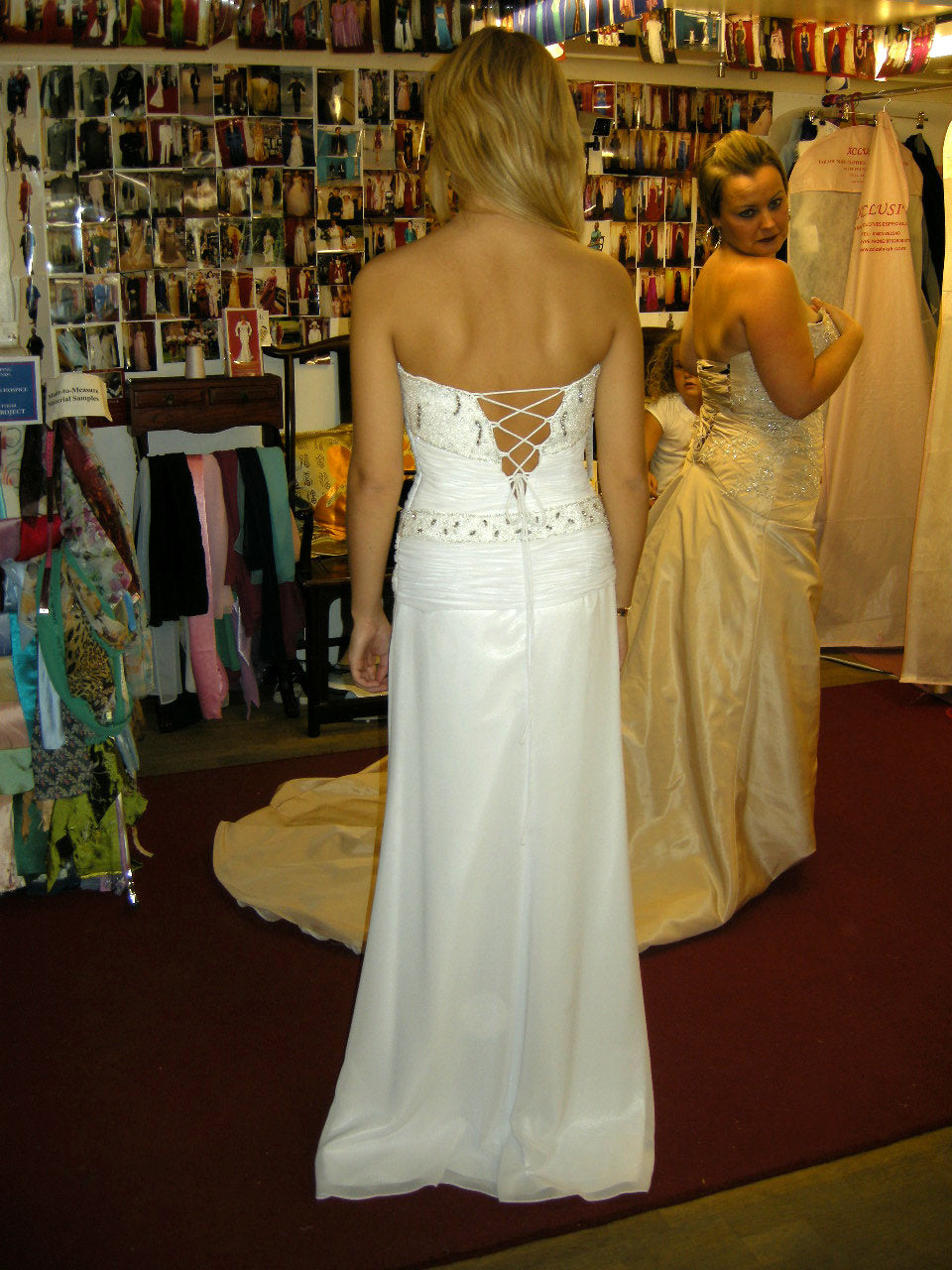 Prom Dress white chiffon with beading