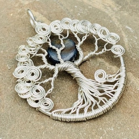 Sterling Silver Spiral Tree - Black Moon