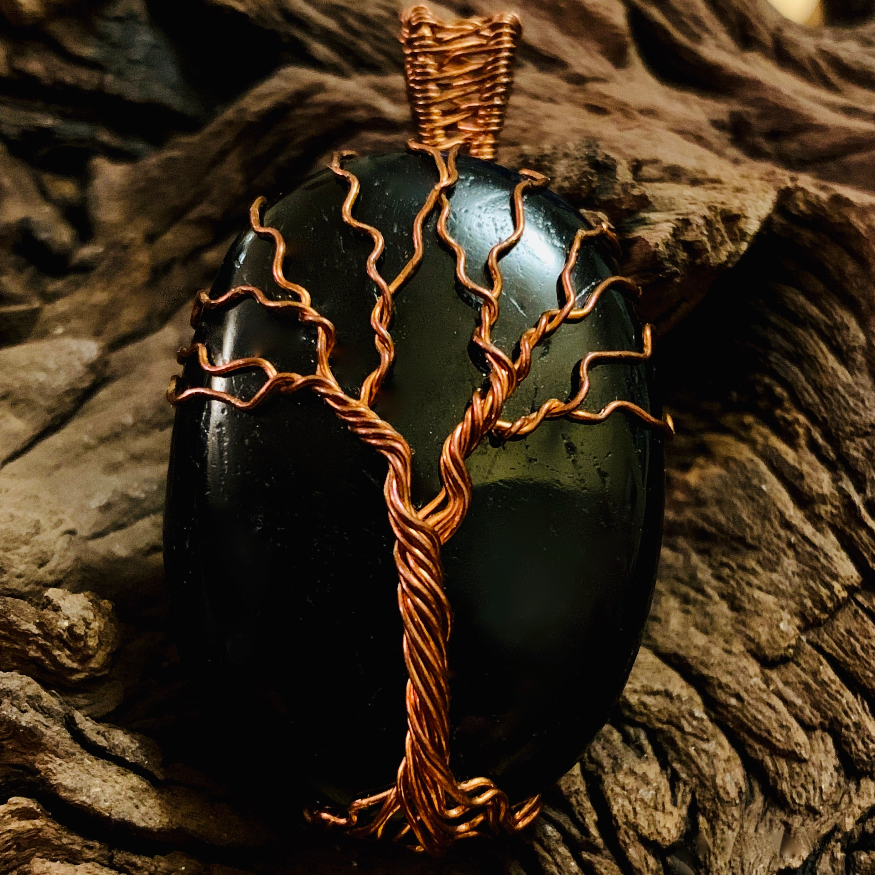 Black Tourmaline Tree of Life Pendant