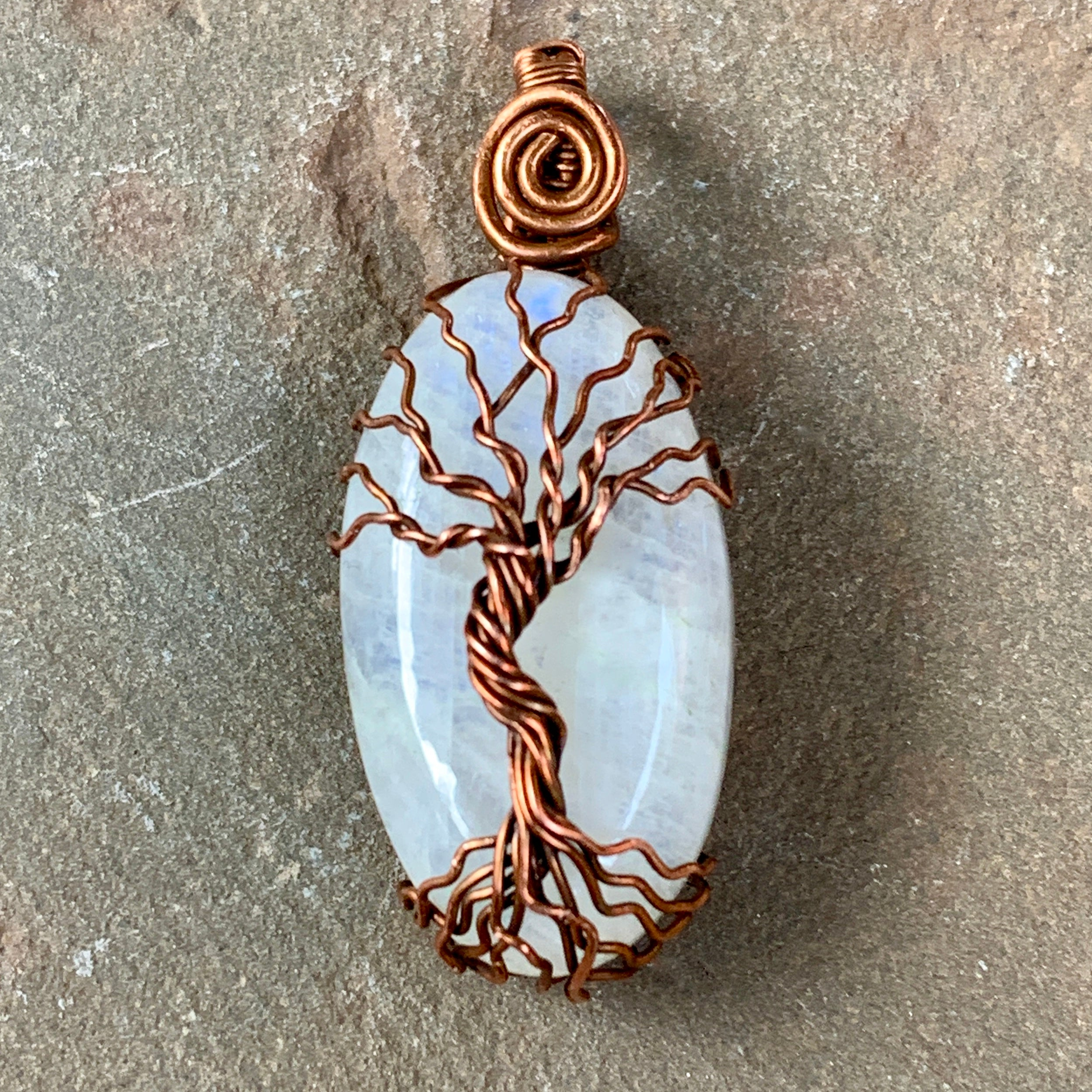 Moonstone Tree of Life Pendant in Copper