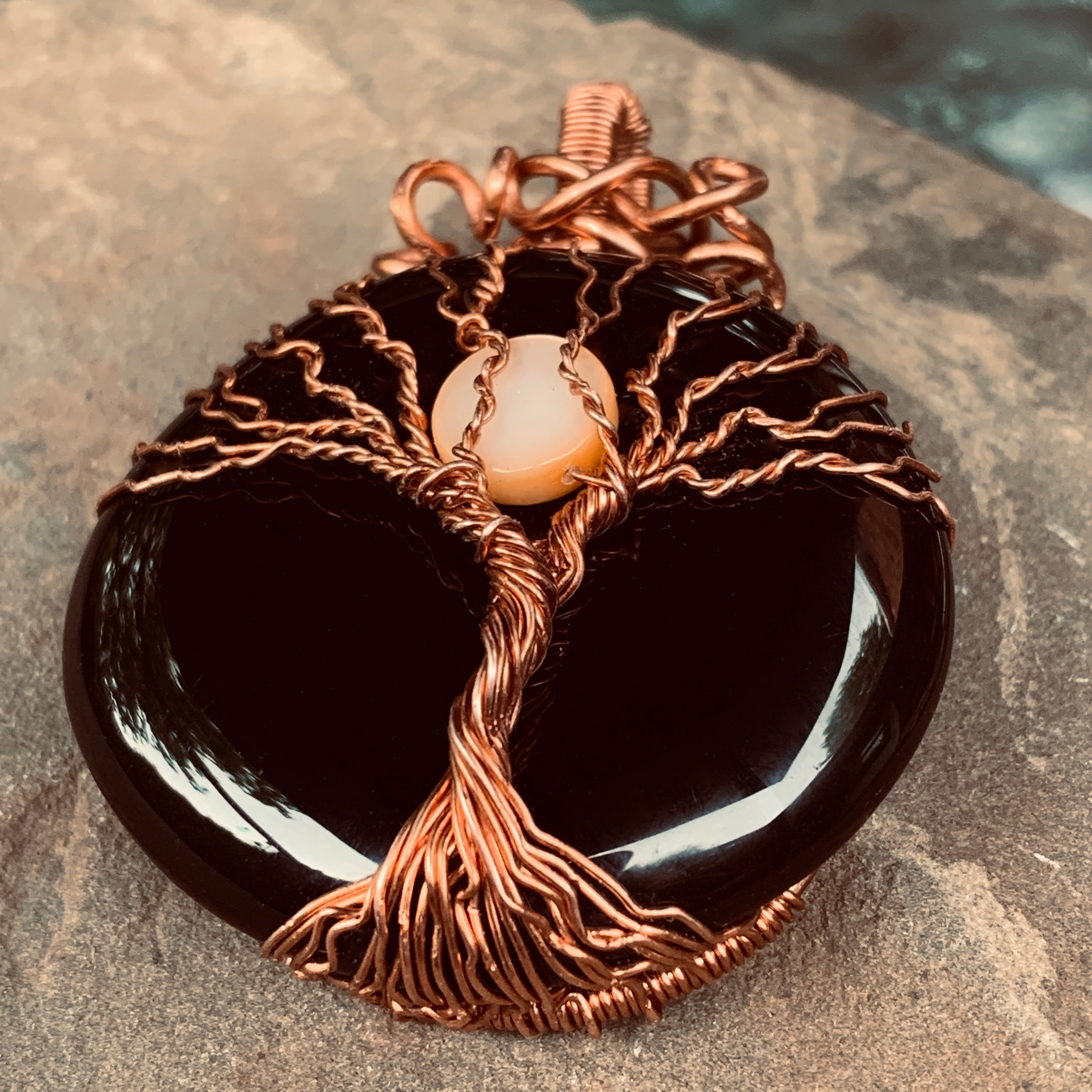 Black Onyx Full Moon Tree of Life Pendant in Copper