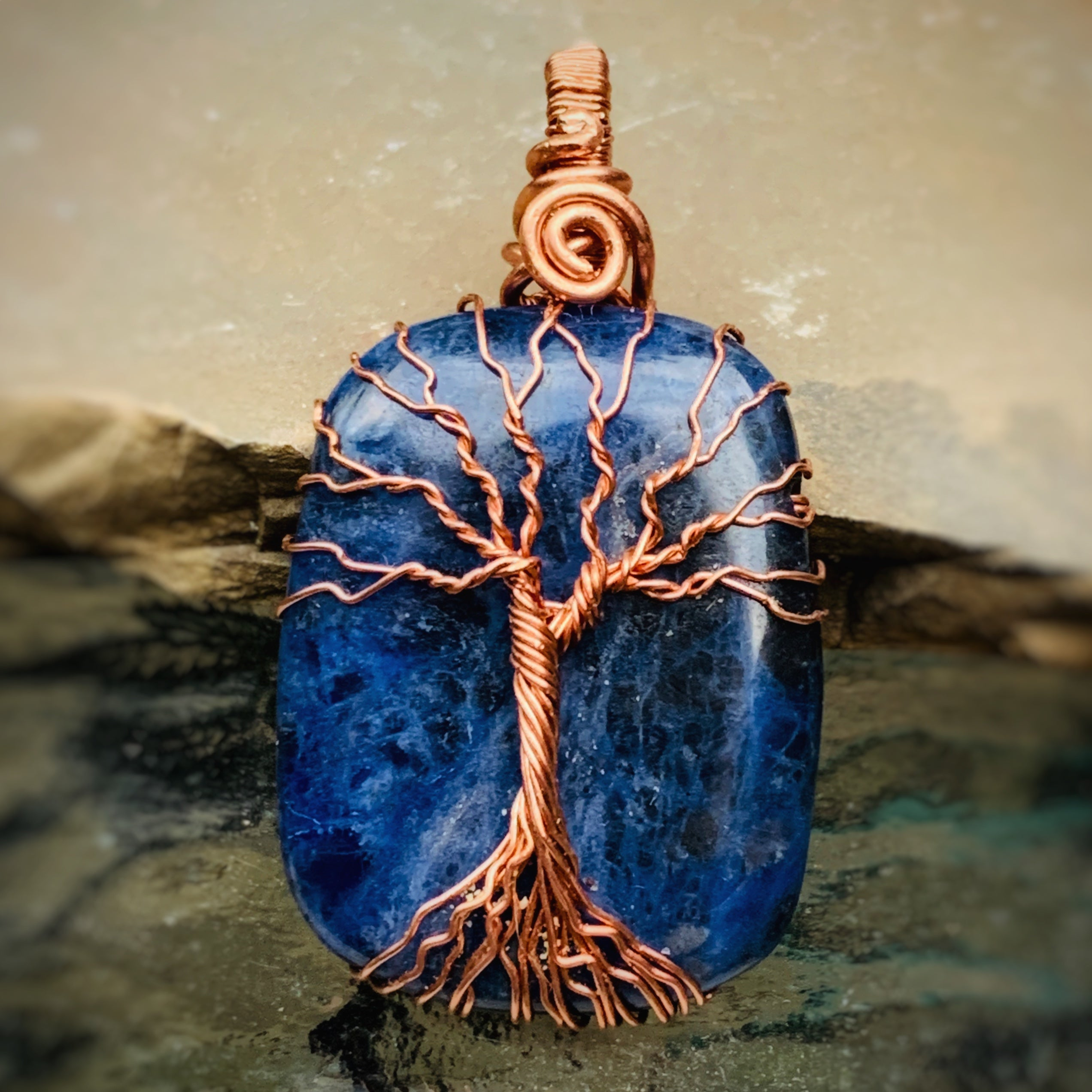 Sodalite Tree of Life Necklace in Copper